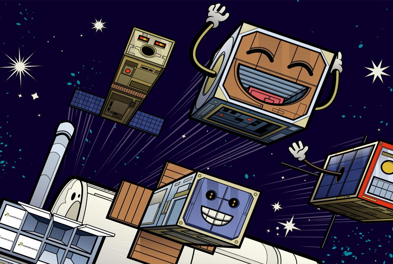 four happy cartoon cubesats